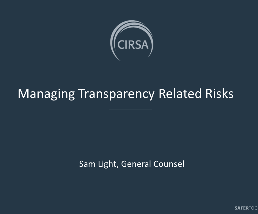 Managing Transparency Related Risks Webinar