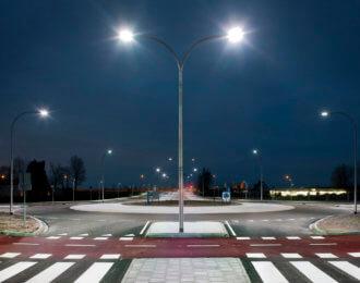 Roundabout illuminated by led lights  at twilight